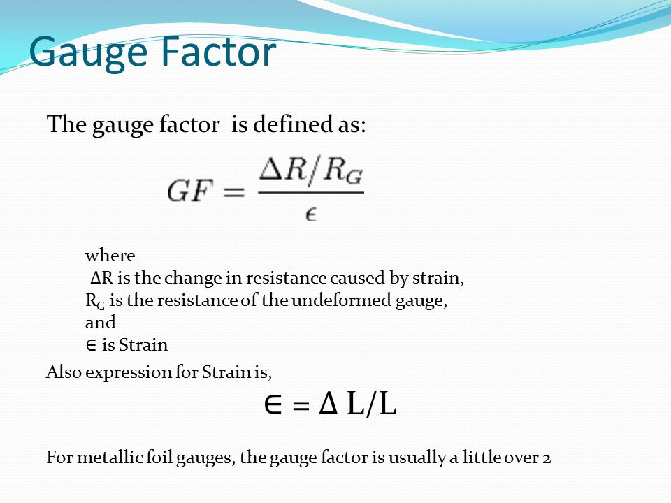 Gauge Factor ∈ = ∆ L/L The gauge factor is defined as: where