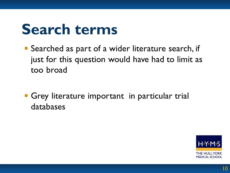Search terms Searched as part of a wider literature search, if just for this question would have had to limit as too broad.