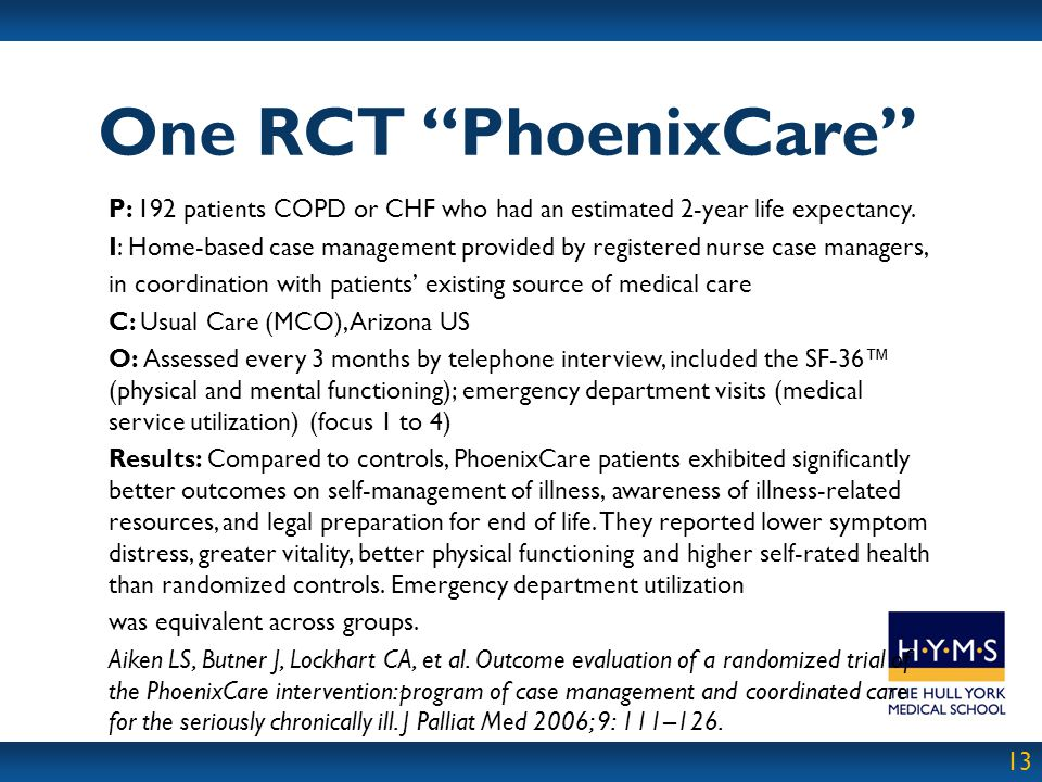 One RCT PhoenixCare P: 192 patients COPD or CHF who had an estimated 2-year life expectancy.