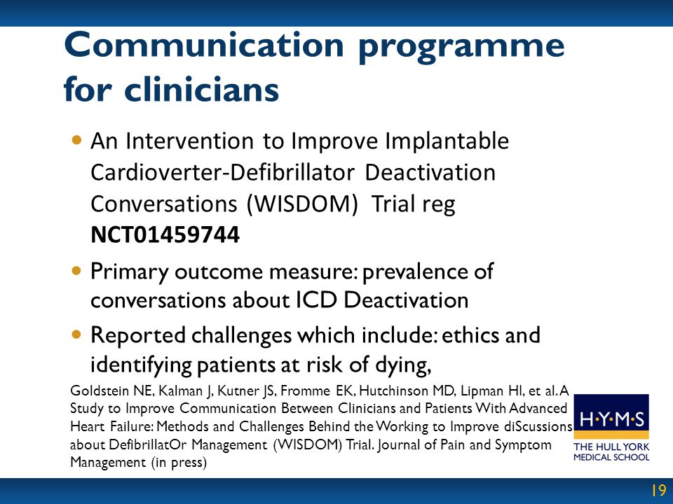 Communication programme for clinicians