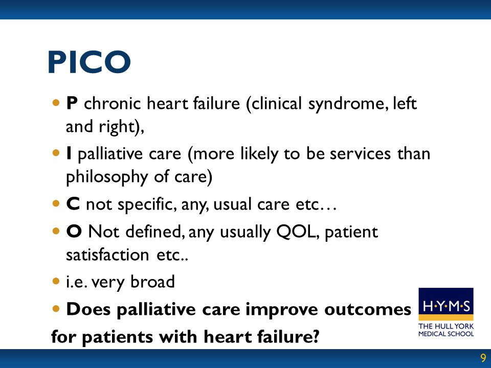 PICO P chronic heart failure (clinical syndrome, left and right),