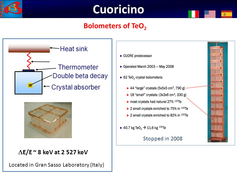 Cuoricino Bolometers of TeO2 Bolomètres: CUORICINO Thermometer