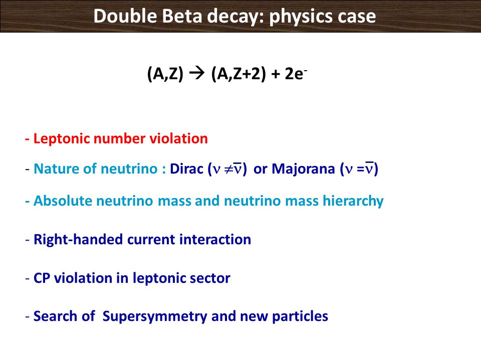 Double Beta decay: physics case