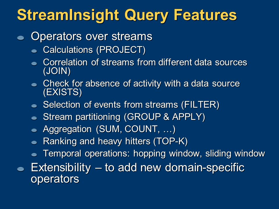 StreamInsight Query Features