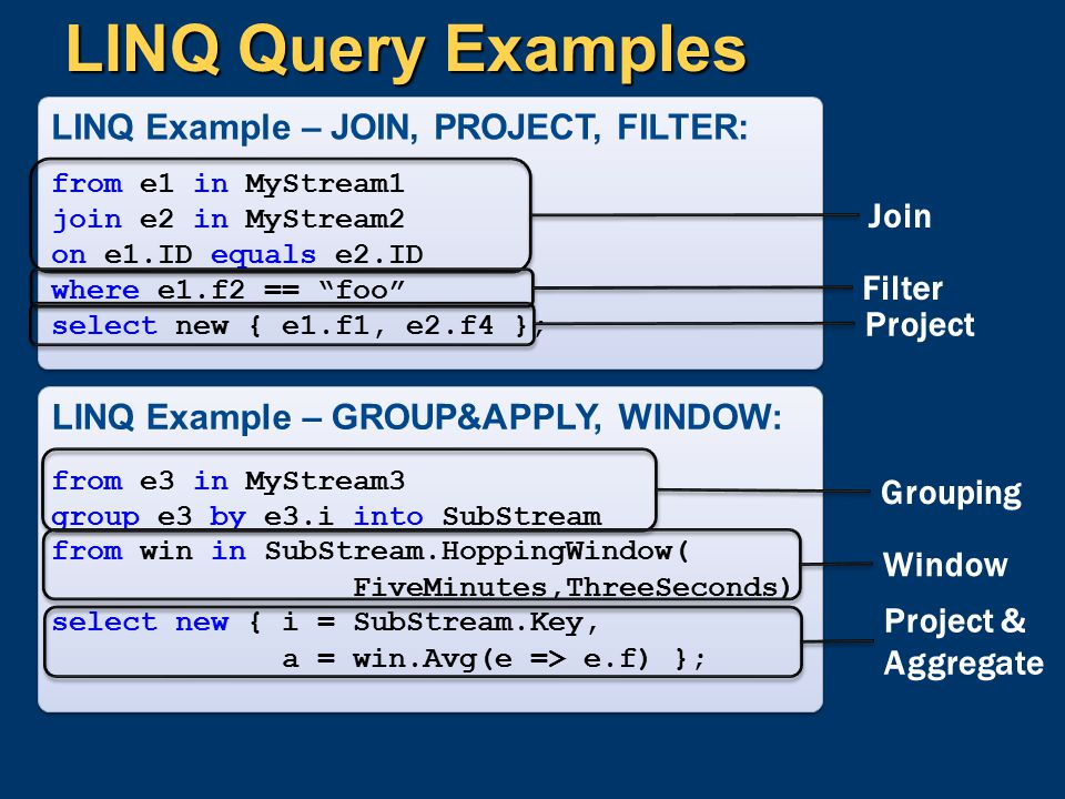 LINQ Query Examples LINQ Example – JOIN, PROJECT, FILTER: Join Filter
