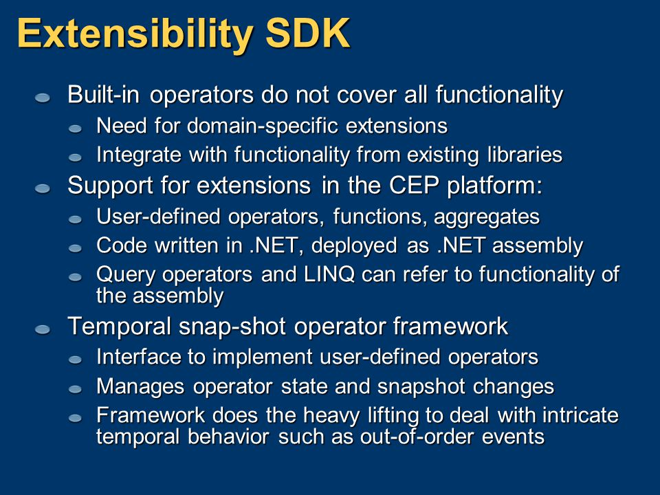 Extensibility SDK Built-in operators do not cover all functionality