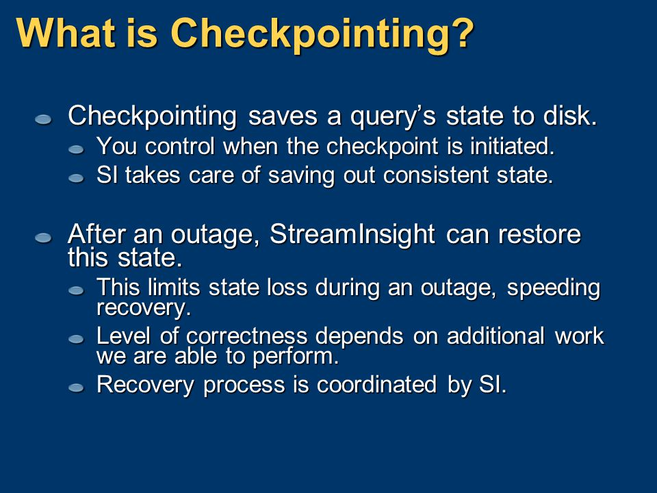 What is Checkpointing Checkpointing saves a query's state to disk.