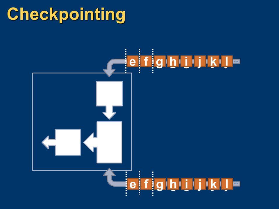 Checkpointing l k j i h g f e k j i h g f e d j i h g f e d c l k j i