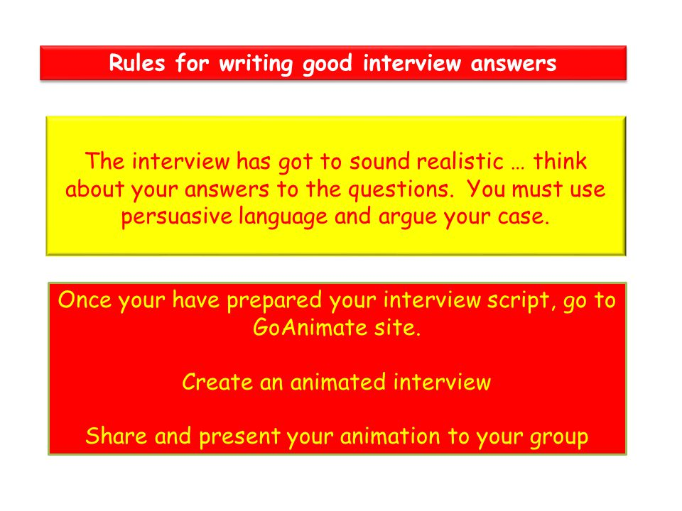 Rules for writing good interview answers