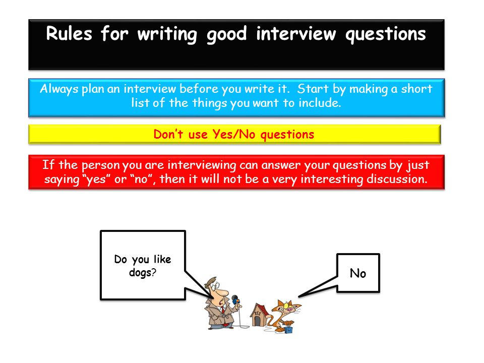 Rules for writing good interview questions