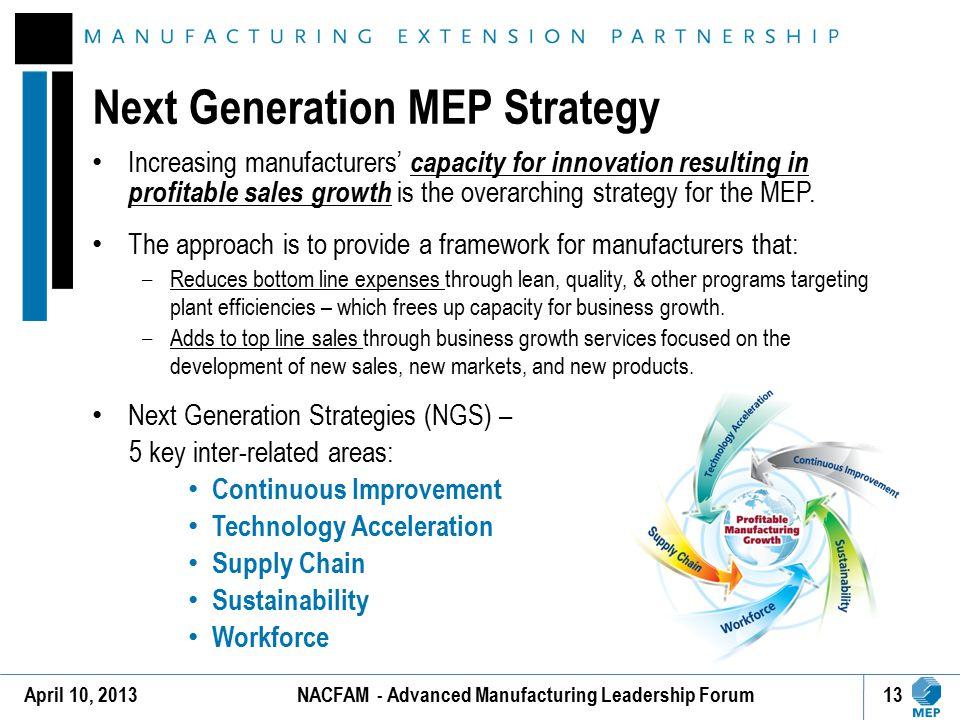 Next Generation MEP Strategy