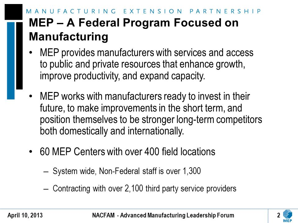 MEP – A Federal Program Focused on Manufacturing