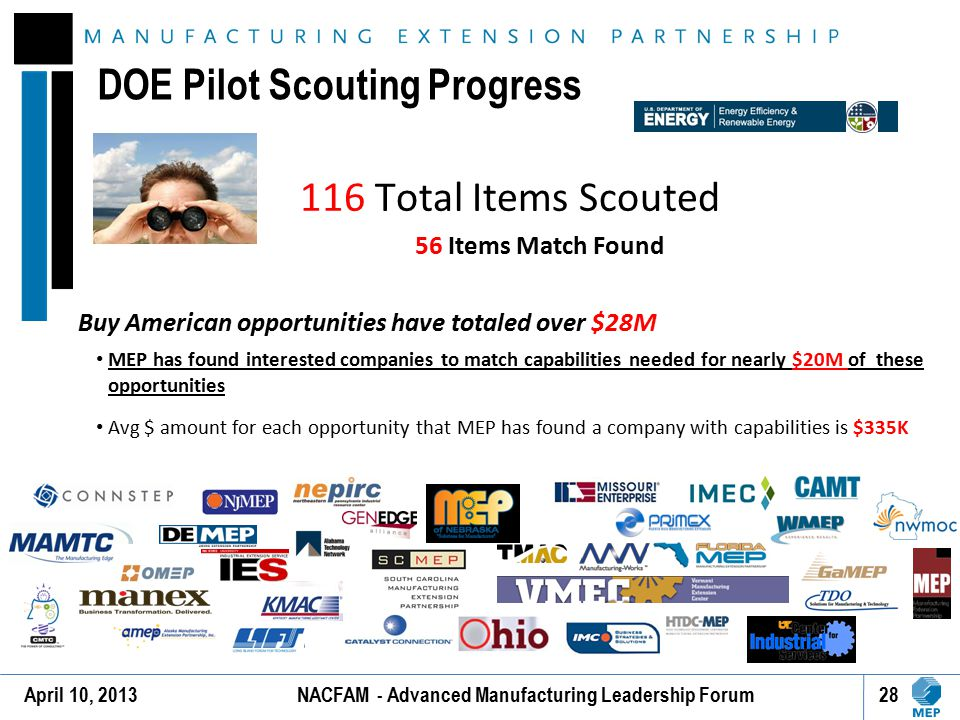 DOE Pilot Scouting Progress