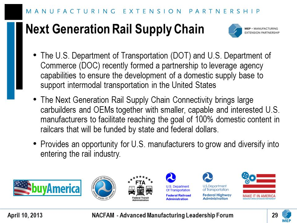 Next Generation Rail Supply Chain