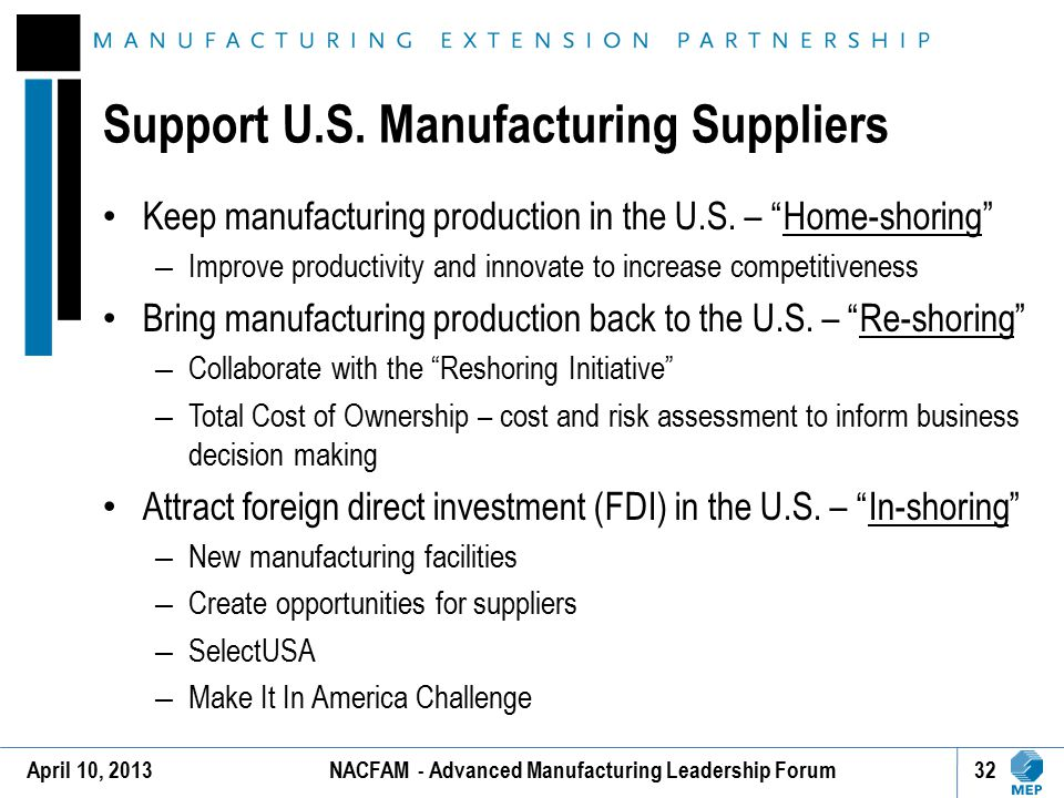 Support U.S. Manufacturing Suppliers