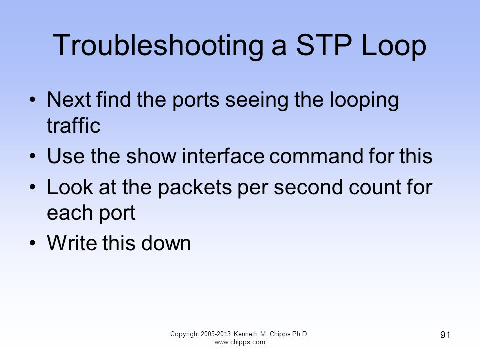 Troubleshooting a STP Loop