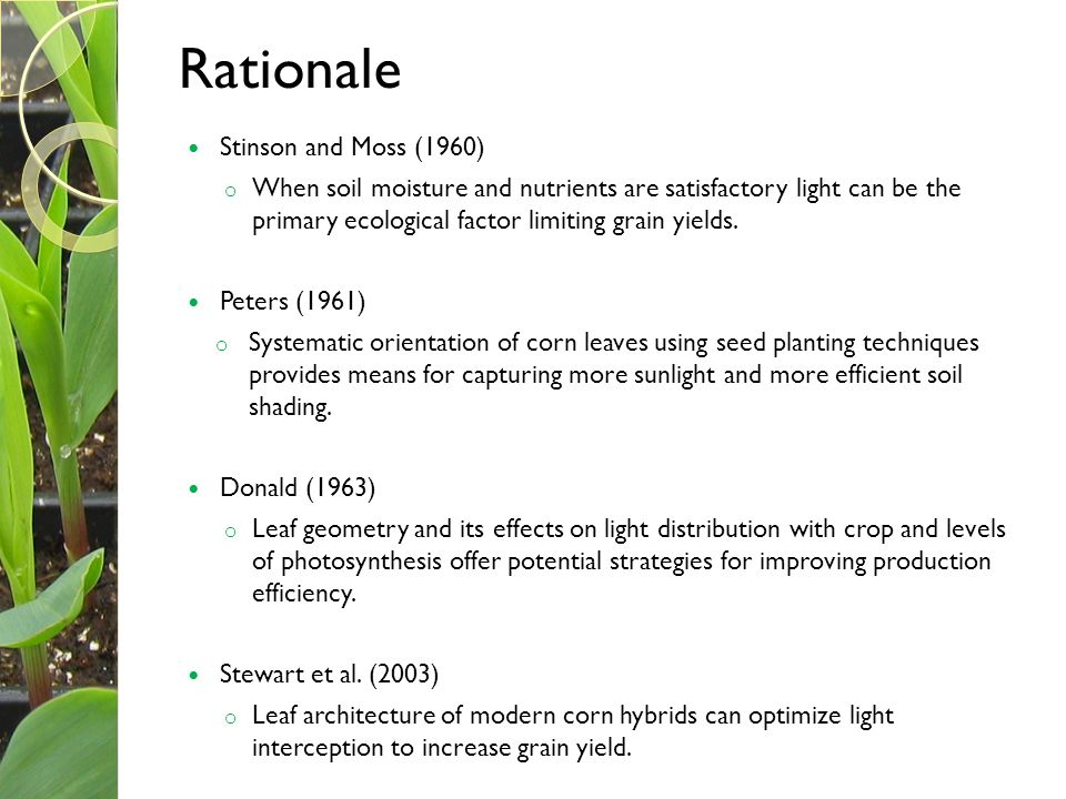 Rationale Stinson and Moss (1960)
