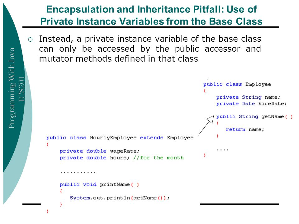 Encapsulation and Inheritance Pitfall: Use of Private Instance Variables from the Base Class