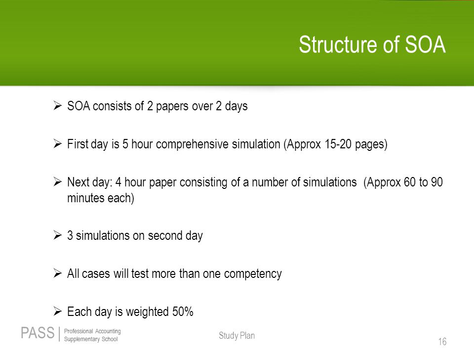Structure of SOA SOA consists of 2 papers over 2 days