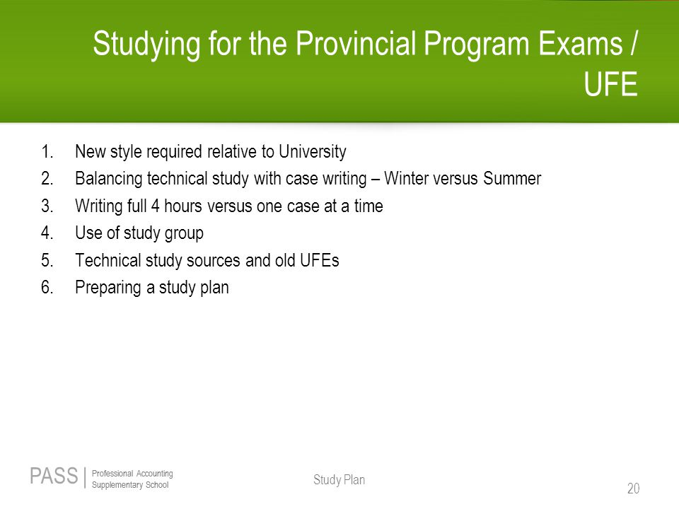 Studying for the Provincial Program Exams / UFE