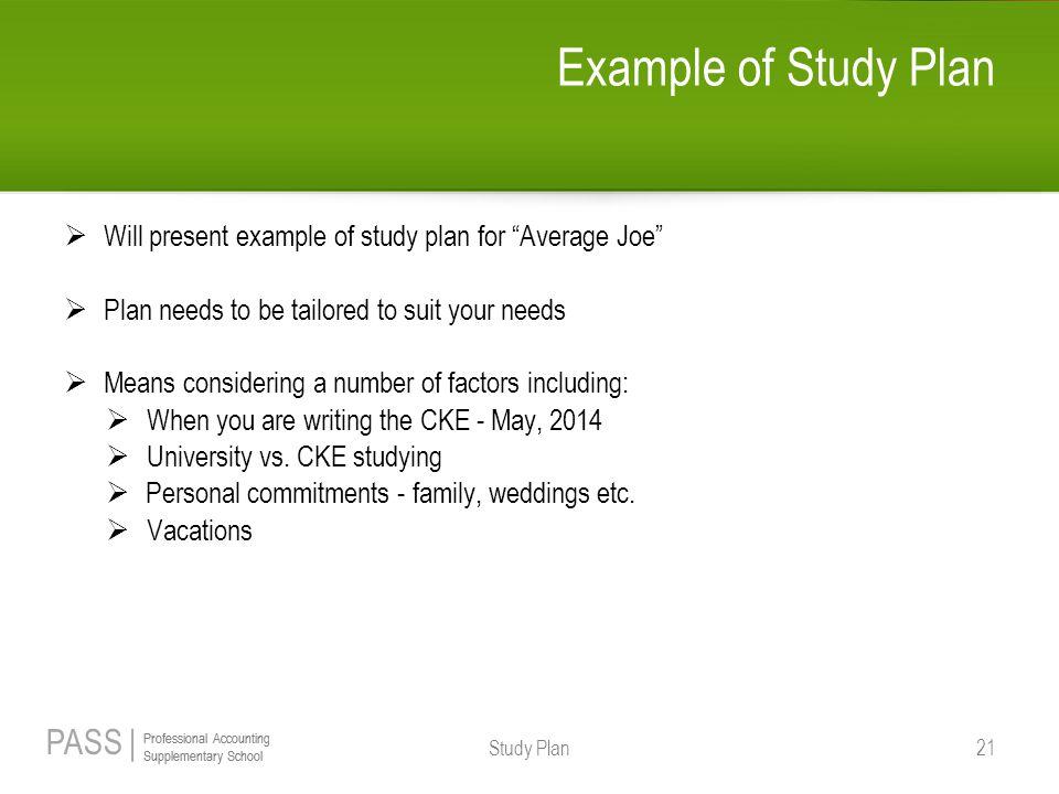 example study plan
