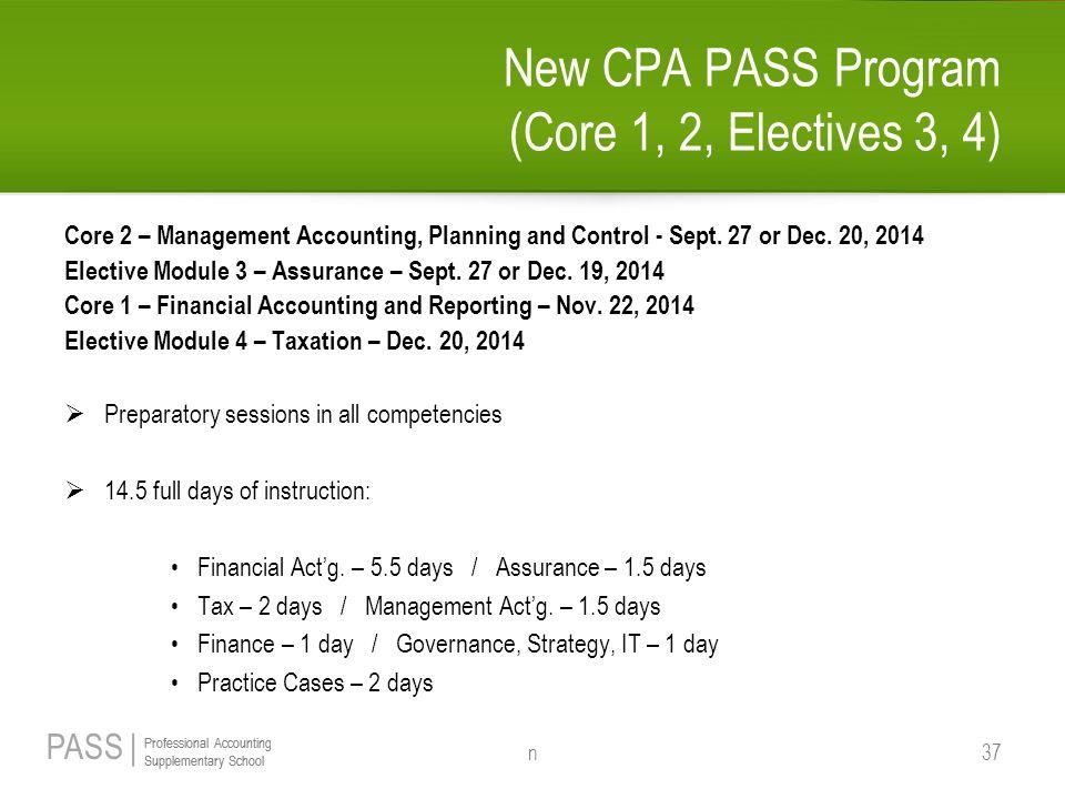 New CPA PASS Program (Core 1, 2, Electives 3, 4)