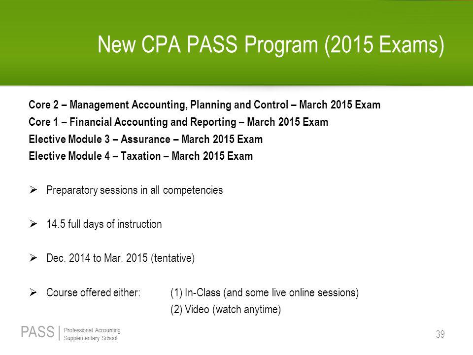 New CPA PASS Program (2015 Exams)