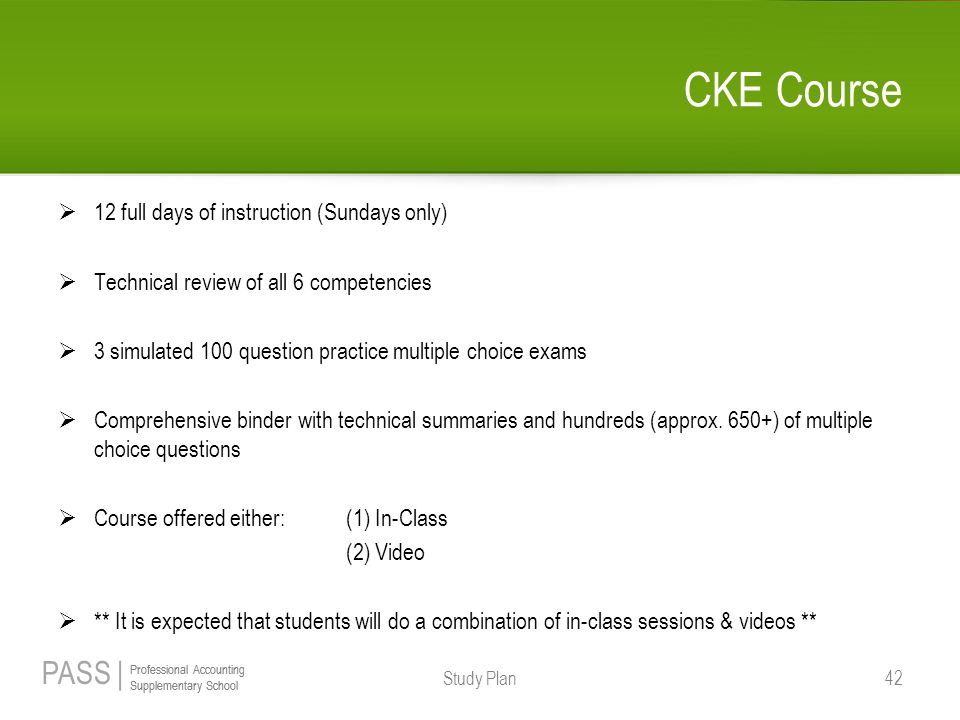 CKE Course 12 full days of instruction (Sundays only)
