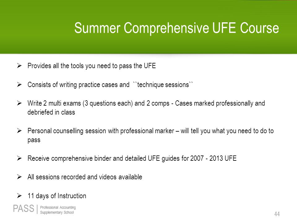 Summer Comprehensive UFE Course