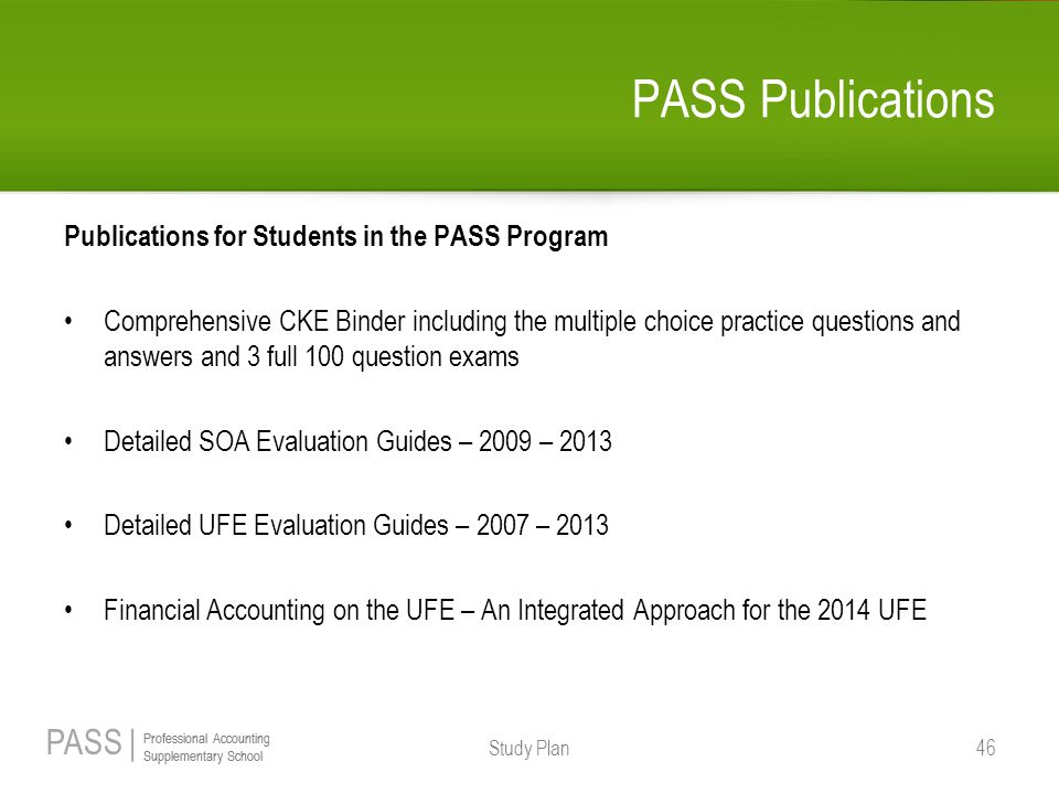 PASS Publications Publications for Students in the PASS Program
