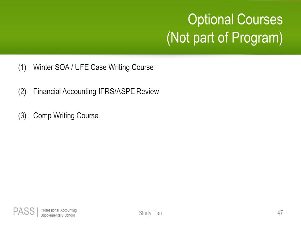 Optional Courses (Not part of Program)