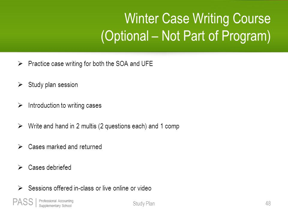 Winter Case Writing Course (Optional – Not Part of Program)