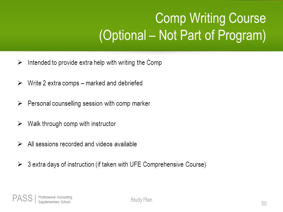 Comp Writing Course (Optional – Not Part of Program)
