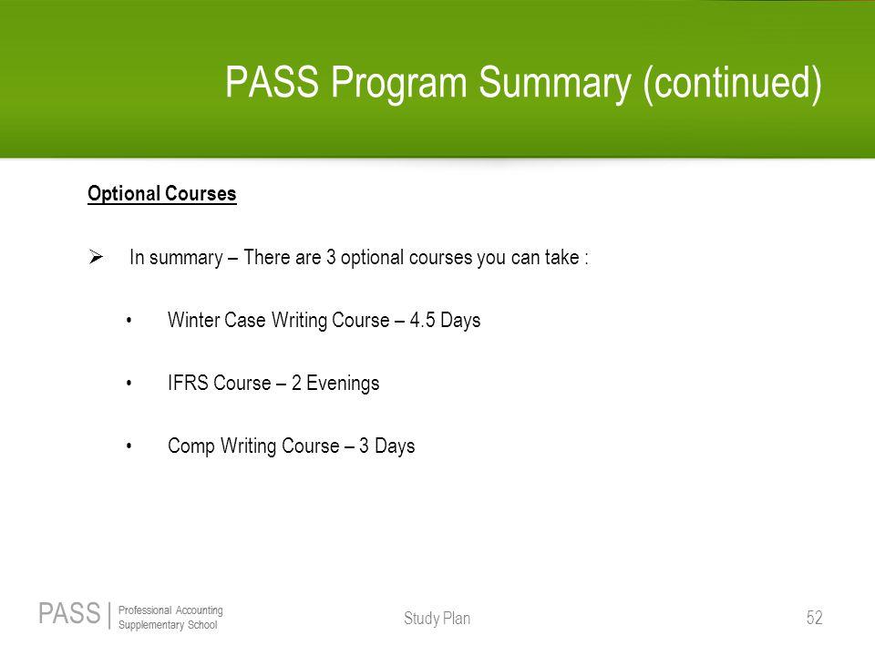 PASS Program Summary (continued)