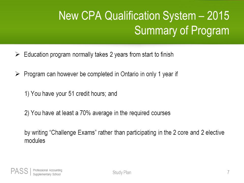 New CPA Qualification System – 2015 Summary of Program