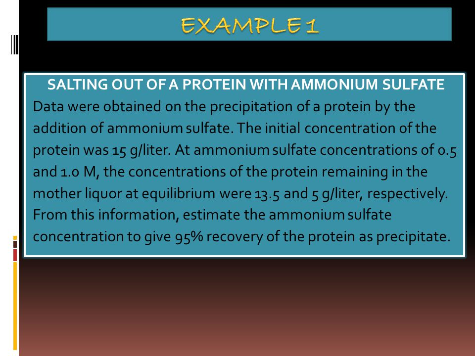 SALTING OUT OF A PROTEIN WITH AMMONIUM SULFATE