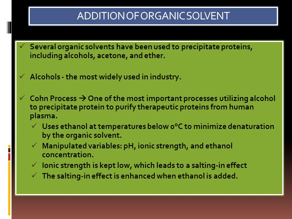 ADDITION OF ORGANIC SOLVENT
