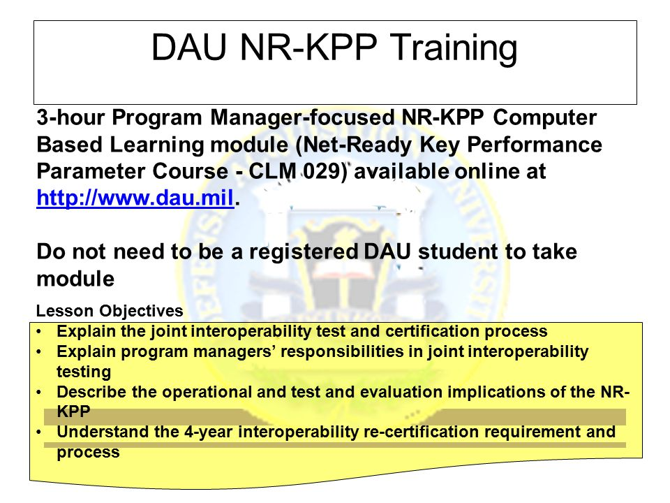 DAU NR-KPP Training