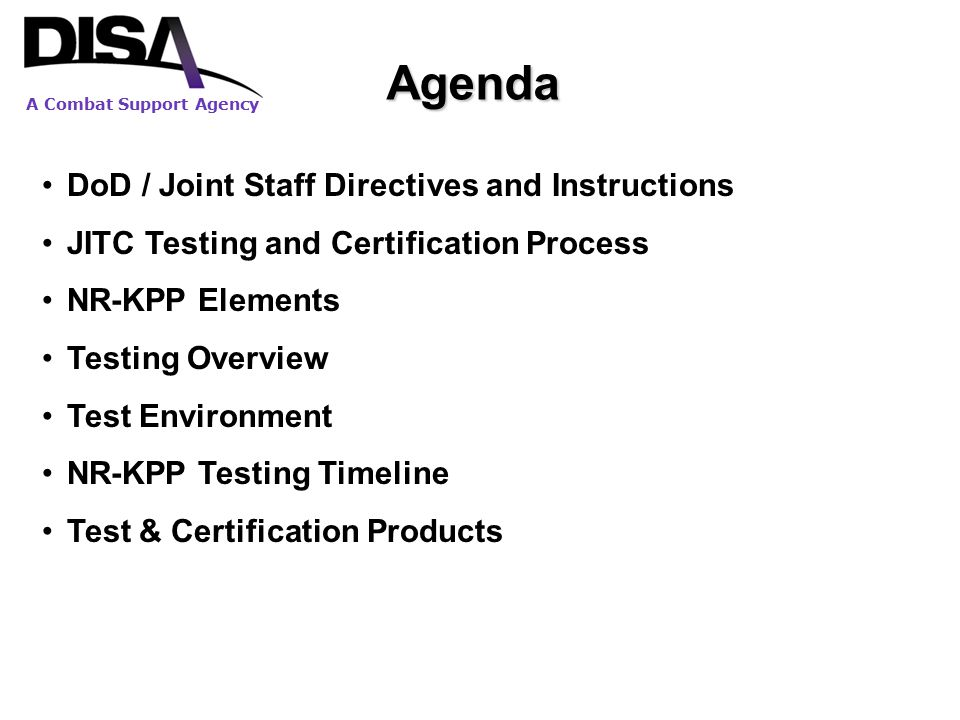 Agenda DoD / Joint Staff Directives and Instructions