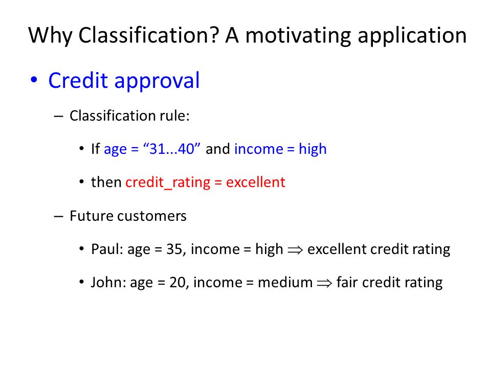 Why Classification A motivating application