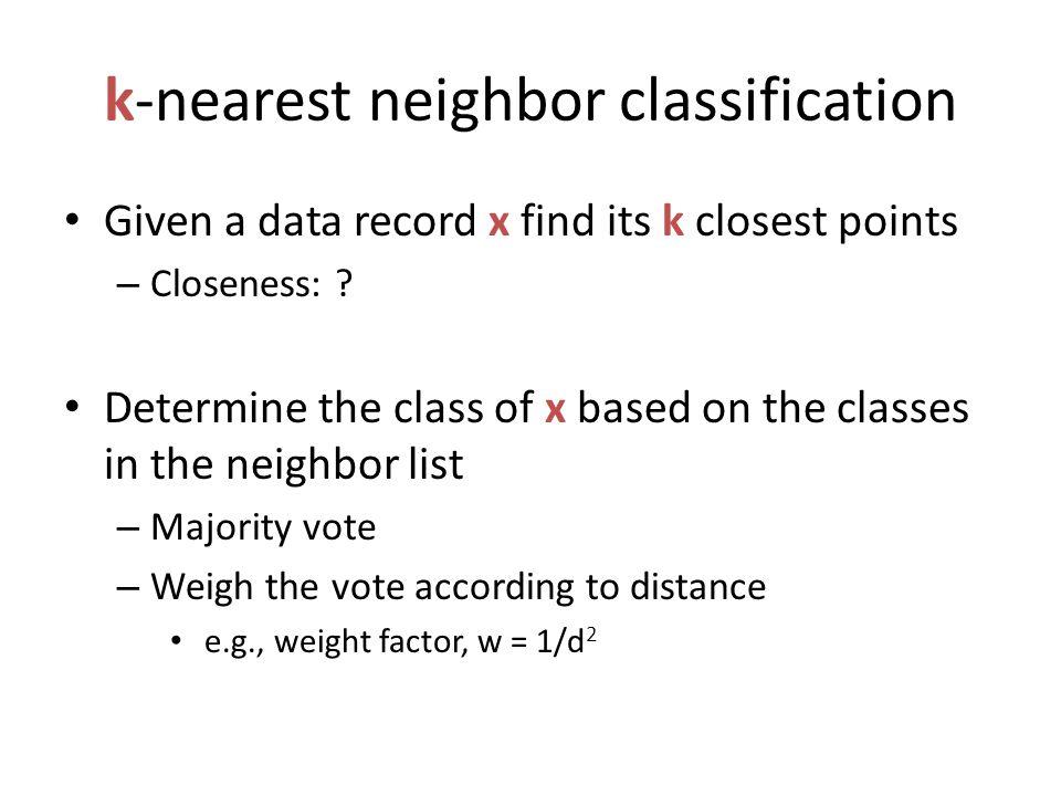 k-nearest neighbor classification