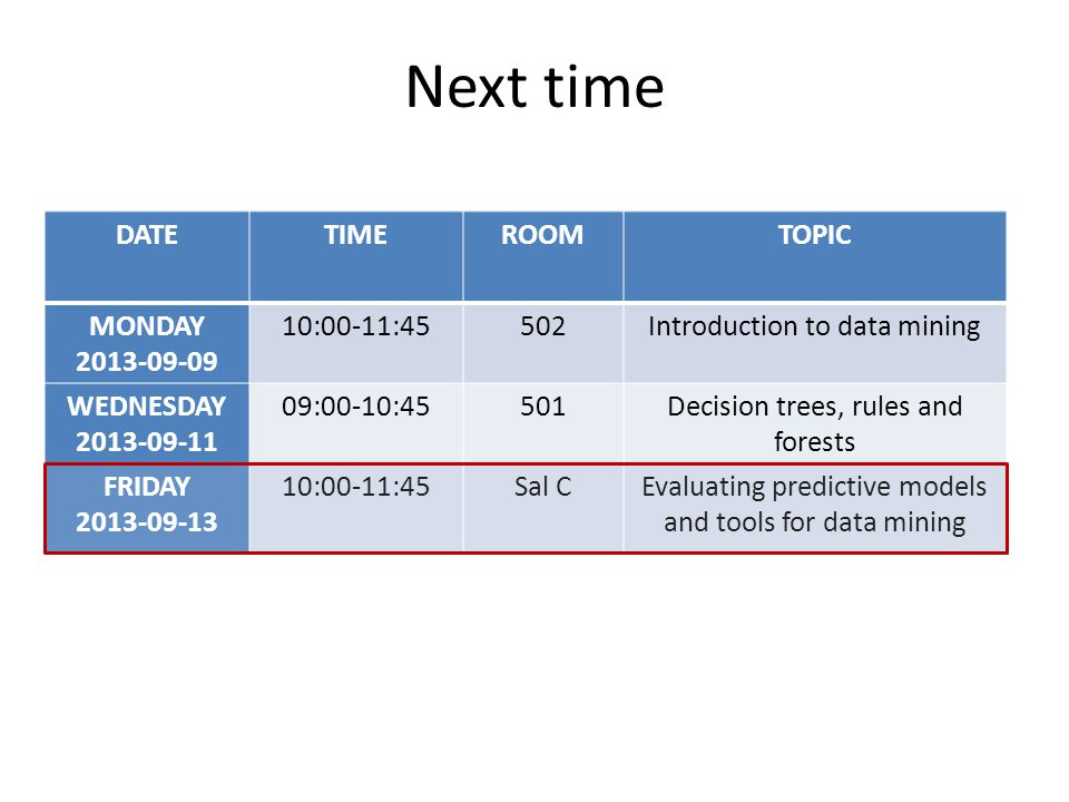 Next time DATE TIME ROOM TOPIC MONDAY 2013-09-09 10:00-11:45 502