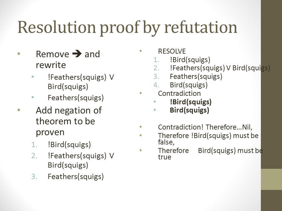Resolution proof by refutation
