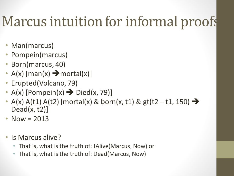 Marcus intuition for informal proofs