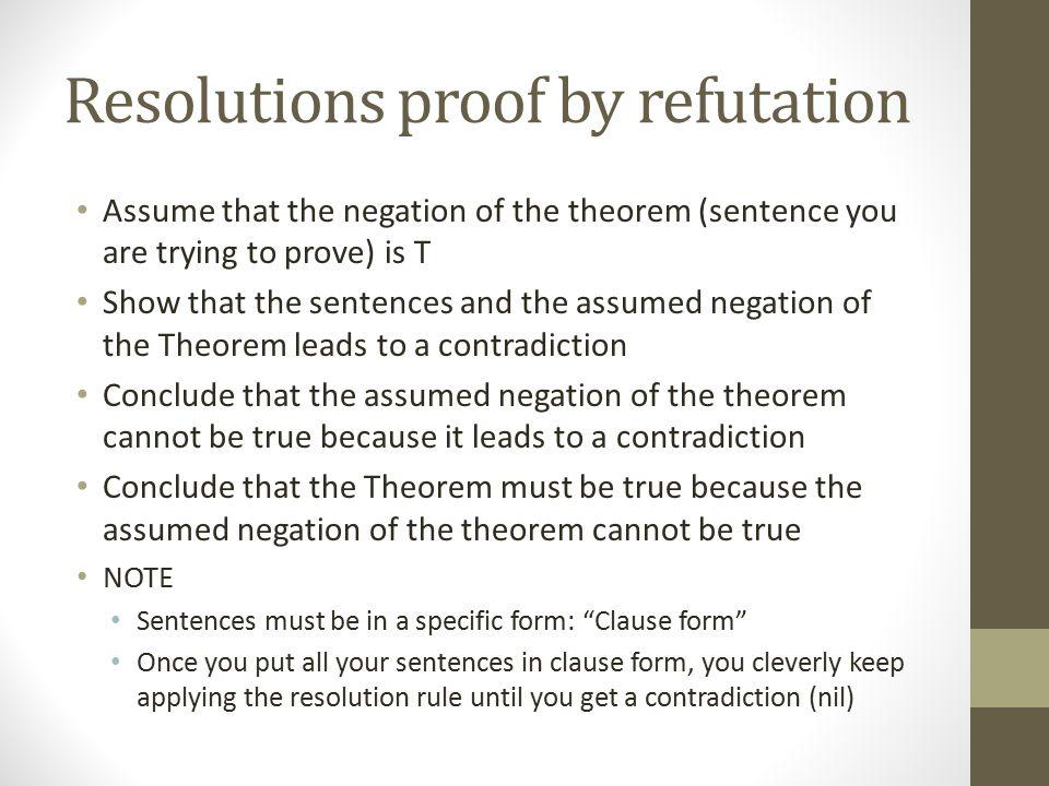 Resolutions proof by refutation