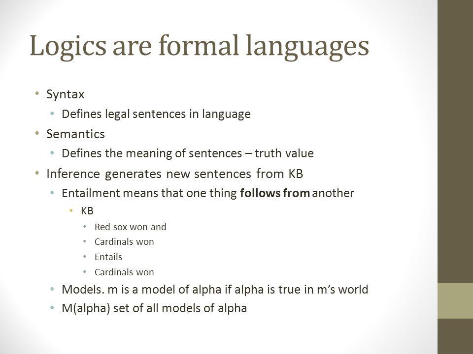 Logics are formal languages