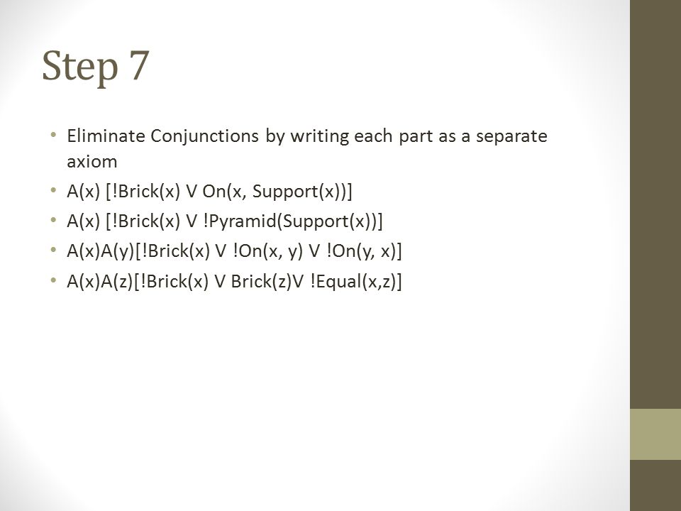 Step 7 Eliminate Conjunctions by writing each part as a separate axiom