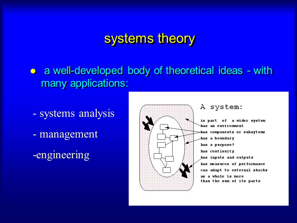 systems theory - systems analysis - management -engineering