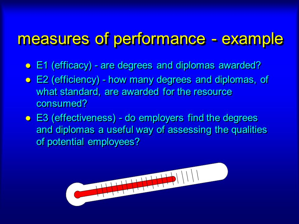 measures of performance - example