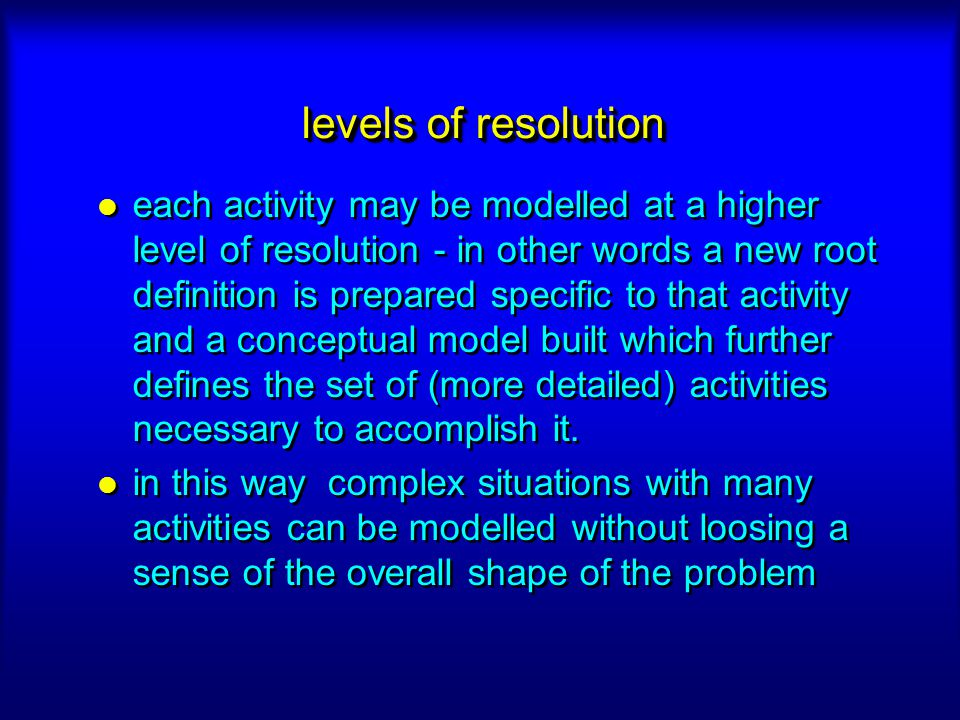 levels of resolution